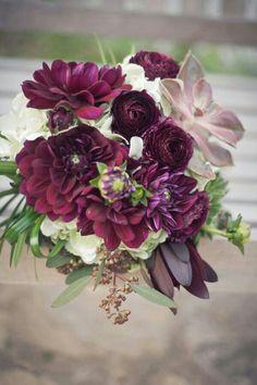 Red-Violet Dahlias, Cranberry Ranunculus, Burgundy Leucadendrons, Succulents, Greenery Wedding Bouquet
