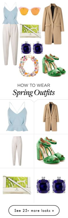 """Spring Tropical Work Outfit"" by kayakcreations on Polyvore featuring MaxMara, rag & bone, River Island, Rupert Sanderson, Kate Spade, Miadora and Kenneth Jay Lane"