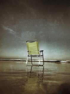 Chair on the beach, via Flickr. | #texture #green #grey #brown #iphoneography