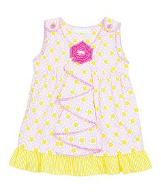 Loving this Pink & Yellow Flower Ruffle Tunic - Infant, Toddler & Girls on #zulily! #zulilyfinds