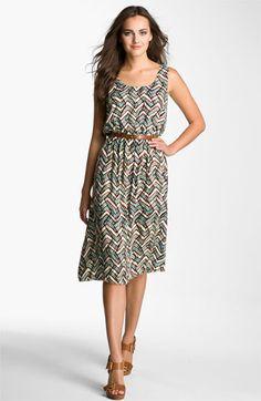 Calvin Klein Scoop Neck Print Dress | Nordstrom