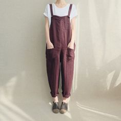 Les femmes combinaisons-pantalons lin Casual salopette