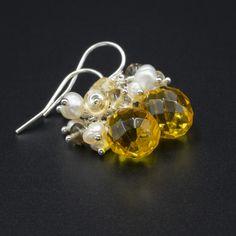 Quartz teardrops, pearl, smokey quartz, citrine and sterling silver earrings £29.00