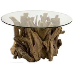 Uttermost Driftwood Glass Top Cocktail Table ($724) ❤ liked on Polyvore featuring home, furniture, tables, accent tables, glass top table, driftwood furniture, driftwood table, drift wood table and drift wood furniture