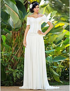 Sheath   Column Off Shoulder Sweep   Brush Train Chiffon Made-To-Measure Wedding  Dresses with Beading   Ruched   Flower by LAN TING BRIDE® 9eadae127d1a