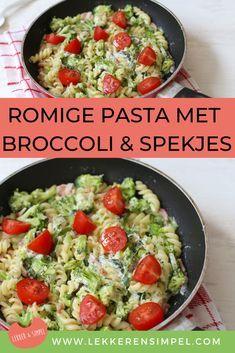 Romige pasta met broccoli en spekjes. Een snel gerecht dat makkelijk te maken is. Ideaal voor een doordeweekse dag. Lekker voor het hele gezin.