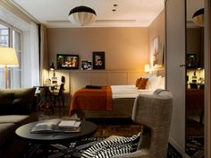 Warm colours and trendy details at hotel Scandic Grand Central in Stockholm.