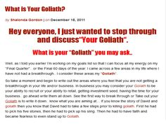What Is Your Goliath? by Shalonda Gordon via Slideshare