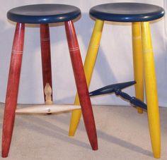 Stained Three Legged Stools