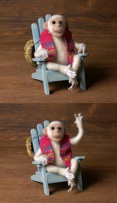 White Needle-Felted Miniature Chimpanzee  White Needle-Felted Miniature Chimpanzee by DinkyWorld on Etsy