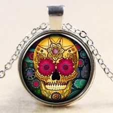 Unique Jewelry - New Fashion Gold Tattoo Skull Flower Glass Photo Art Pendant Necklace Chain