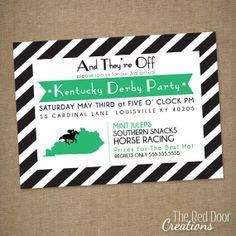 Derby Party Invitations Kentucky Derby by TheRedDoorCreations, $15.00