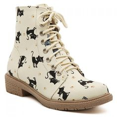 Cute Women's Flat Short Boots With Lace-Up and Kitten Design