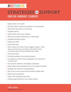 "How do you support ELLs in your classroom? Download this PDF: ""Strategies to Support English-Language Learners"" for tips and resources!"