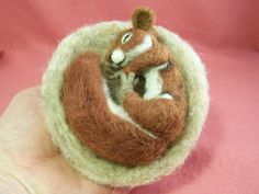 so cute! Squirrel needle felted by fiber artist E. Meyer
