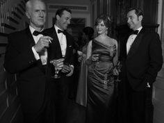 Mad Men Season 6 Cast Photos Roger Sterling (John Slattery), Don Draper (Jon Hamm), Joan Harris (Christina Hendricks) and Pete Campbell (Vincent Kartheiser)