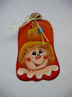Scarecrow and Pumpkin Tole Painted Magnet. $7.00, via Etsy.
