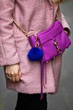 it's all about the details pink coat, purple mini mac, royal blue fur pom pom, white nail polish