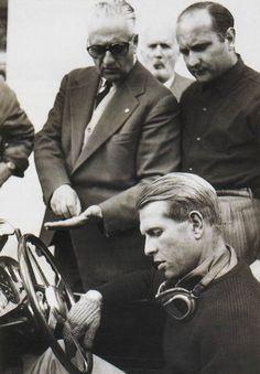 Enzo Ferrari, Juan Manuel Fangio e Peter Collins