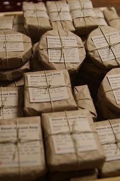 Brown paper packages tied up with string. Soap is such a versatile gift for the home.