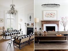 The carefully selected ornate details soften up the otherwise spare or modern rooms.