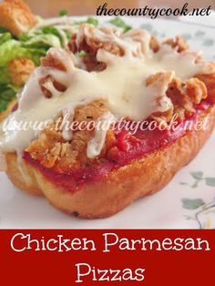 The Country Cook: Chicken Parmesan Pizzas {easy, no-fuss, weeknight dinner!}