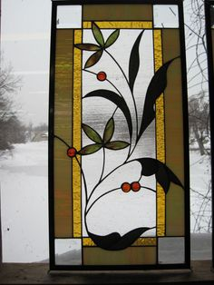 Stained Glass Leafy Vine with Berries van RenaissanceGlass op Etsy, $300.00