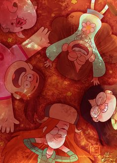 Gravity Falls - Girls - Mabel , Candy , Grenda , Wendy and Waddles. Gravity Falls Anime, Gravity Falls Fan Art, Gravity Falls Waddles, Monster Falls, Desenhos Gravity Falls, Gavity Falls, Mabel Pines, Reverse Falls, Gravity Falls