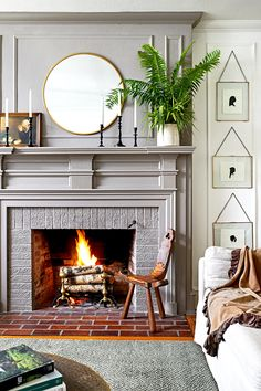 Home Tour // A Historic Colonial Revival in Delaware full of Charm and the Best Thrifted Finds — The Grit and Polish tour the charming historic home of Leigh and Ben Muldrow Candles In Fireplace, Paint Fireplace, White Fireplace, Fireplace Mantels, Fireplaces, Mantle, Fireplace Ideas, Mantel Ideas, Fireplace Design
