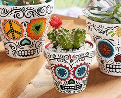 craft painting, daisi eye, eye sugar, skull planter, sugar skull, diy craft day, mexican crafts