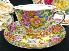 ROYAL WINTON TEA CUP AND SAUCER CHINTZ FLORAL  PATTERN TEACUP
