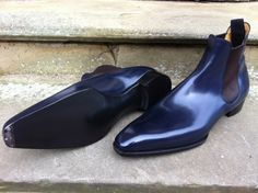 Burnham Boots In Navy Calf on the Deco Last with Toe-Tips