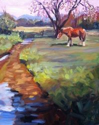 """Pink Skies"" 16 x 20, oil, On the Farm Series - Original artwork by Linda S. Marino - Linda S. Marino Art | A Fresh Perspective"