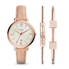 Jacqueline Three-Hand Leather Watch and Jewelry Set #fossisltyle