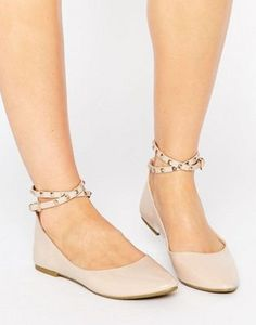 Daisy Street Nude Studded Ankle Strap Ballet Flat Shoes