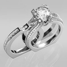 1.9 CT Brilliant Cut Created White Sapphire Two-in-One Rhodium Plating Sterling Silver Engagement Ring/Bridal Ring Set