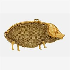 An eighteen karat gold 'cochon' coin purse early century designed as a pig with a mesh purse body, detailed face, articulated legs and coiled tail; French assay marks and numbered 636 (partially obscured). Vintage Purses, Vintage Bags, Vintage Handbags, Faberge Eier, Watch Sale, Evening Bags, Antique Jewelry, Purses And Bags, Coin Purses