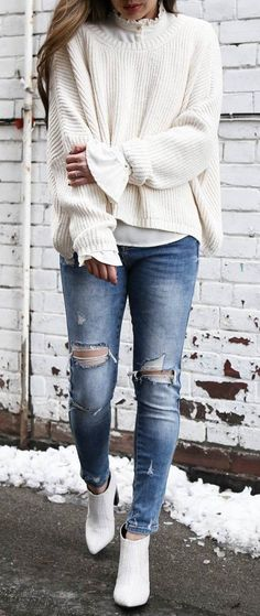 a white knit sweater with balloon sleeves so you can be more dramatic than the bomb cyclone