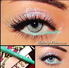 Colored eyeliner and sparkles