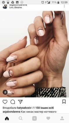 Simple Line Nail Art Designs You Need To Try Now line nail art design, minimalist nails, simple nails, stripes line nail designs Line Nail Designs, Round Nail Designs, Gel Nail Polish Designs, Clear Nail Designs, Short Nail Designs, Makeup Designs, Neutral Nail Art, Neutral Nail Designs, Classy Nail Designs