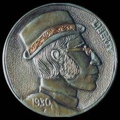 By Mike Cirelli - Lennon Hobo Nickel, Coin Art, Buffalo, Cactus, Coins, Carving, Profile, Music, User Profile