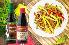 Stir fry beef and veggies with Lee Kum Kee Hoisin Sauce and Soy Sauce for a quick and delicious meal!