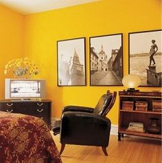 Wall Color With Yellow Accents Image) is part of Yellow painted walls Currently, we advocate Wall Color with Yellow Accents For you, This Post is Related With Orange Accent Wall Living Room You - Yellow Wall Decor, Yellow Home Decor, Yellow Interior, Interior House Colors, Yellow Theme, Interior Ideas, Interior Design, Yellow Living Room Paint, Living Room Orange