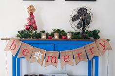 Christmas Banner Be Merry Burlap Banner Holiday by SwankyPartyBox, $15.99