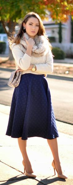 Daily New Fashion : Nudes and Navy - Polka Dot Navy Midi Skirt, Nude Sleeve Sweater, Rachel Zoe Faux Fur Scarf, Gilberta in Sunkiss Schutz by Hapa Time