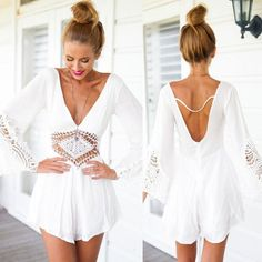 Crochet Jumpersuit in White! Love it