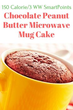 Microwave Chocolate Peanut Butter Mug Cake - Slender Kitchen. Works for Vegetarian and Weight Watchers® diets. 141 Calories.