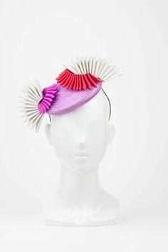 Purple Cocktail Hat with Pink & White Origami Flowers by Natalie Bikicki