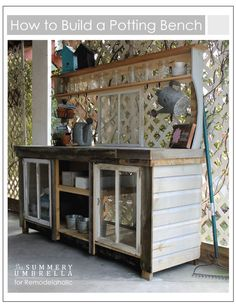 How to build an extra-large potting bench using reclaimed wood and old windows | The Summery Umbrella for Remodelaholic.com
