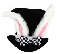 Adult Alice in Wonderland White Rabbit Hat  Here is an idea, maybe change the bows for each scene?